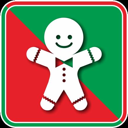 クリスマスのクッキーであるジンジャーブレッドマンのカラーアイコン画像