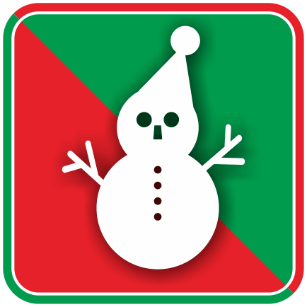 サンタクロースの雪だるまのカラーアイコン画像