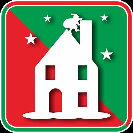 家の煙突へ潜りこもうとしているサンタクロースのアイコン画像