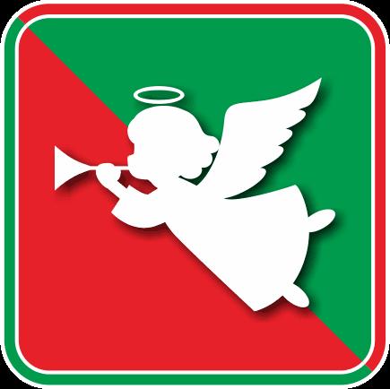 ラッパを吹いているクリスマス天使のアイコン画像