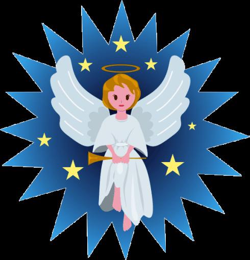 ラッパを持ったクリスマス天使のイラスト画像