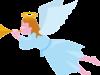 ラッパを吹いている少女天使のイラスト画像