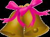 ピンクリボンのついたクリスマスベルのイラスト画像