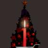 クリスマスツリーの前においたクリスマスキャンドルのイラスト画像
