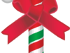 赤いリボンを巻いたクリスマスのキャンディケインのイラスト画像