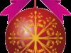 リボンのついたクリスマスボールのイラスト画像