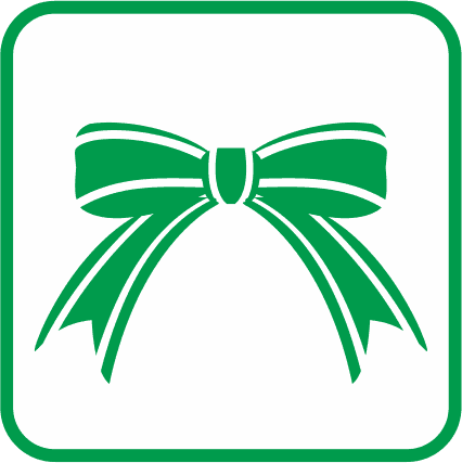 クリスマスリボンの単色アイコン画像
