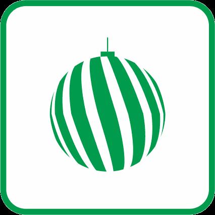 クリスマスツリーを飾るオーナメントボールの単色アイコン画像