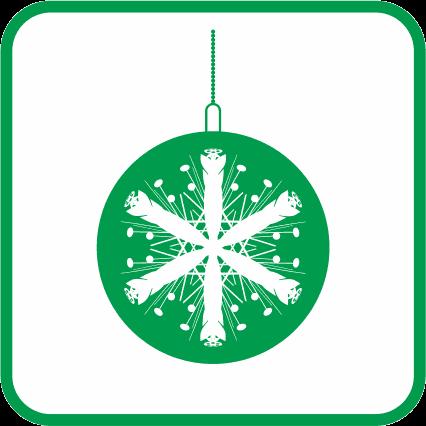 クリスマスオーナメントボール02の単色アイコン画像