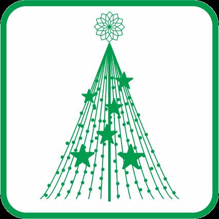 クリスマスのイルミナーションの単色アイコン画像