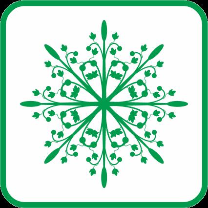 クリスマスオーナメントの草模様の単色アイコン画像