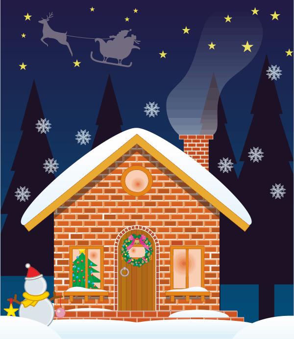 クリスマスを迎える家のイラスト画像