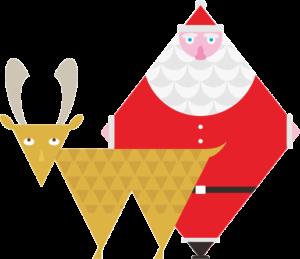 ひし形サンタと三角トナカイのイラスト画像