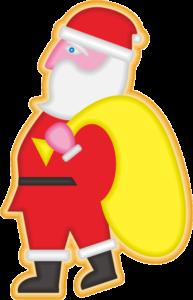 サンタクロースの姿を模したサンタクッキーのイラスト画像