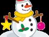 クリスマス飾りがついている雪だるまのイラスト