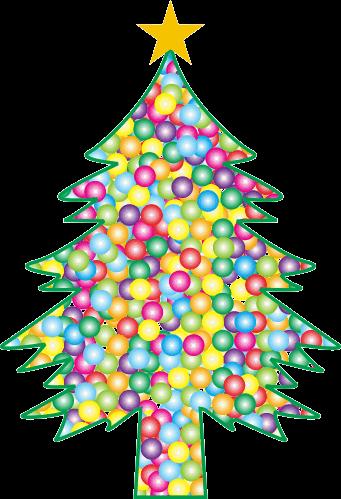 ボールで詰まったクリスマスツリーのイラスト