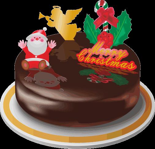 クリスマス用チョコレートケーキのイラスト画像