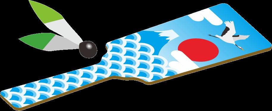鶴と富士の絵の羽子板のイラスト画像