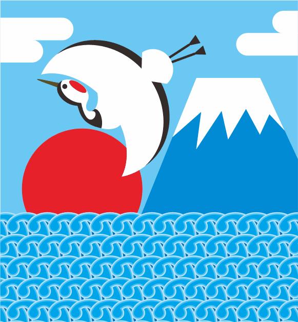 初日の出の海を飛ぶ鶴のイラスト画像