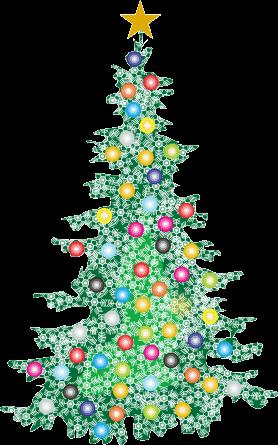 モミの木をカラーボールと雪の結晶で飾ったクリスマスツリーのイラスト画像