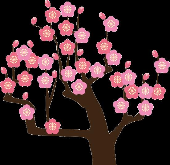 正月の縁起物である梅の花のイラスト