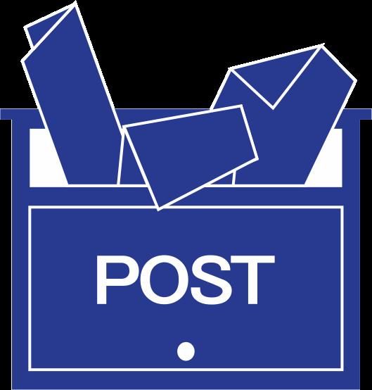 ポスティングのチラシでいっぱいの郵便受けのピクト
