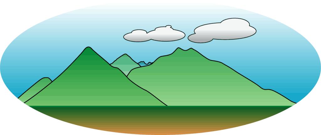 青森市内から見た北八甲田山のイラスト