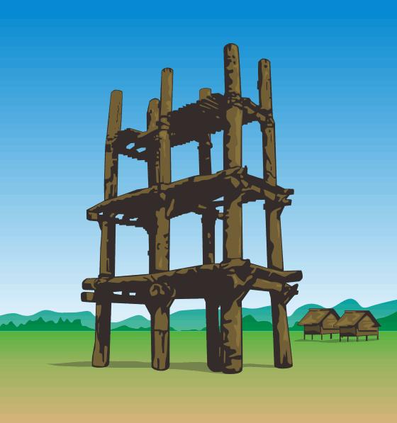 掘立柱建物のある三内丸山遺跡のイラスト