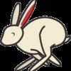 一心に駆けているウサギのイラスト