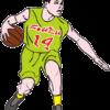 さっそうとプレイするバスケットボール選手のイラスト