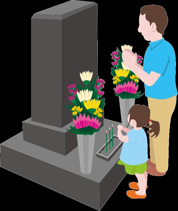 父親と小さな娘がお墓参りしているイラスト