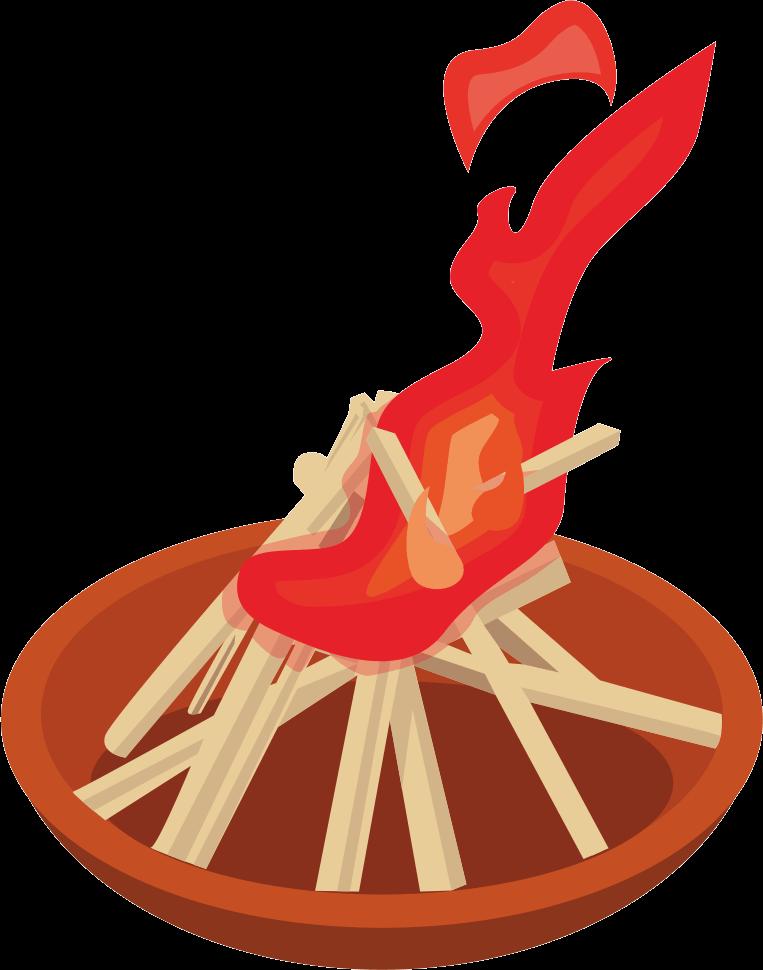 お盆の迎火と送火のイラスト