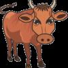 キリッとした顔つきのハンサムな牛のイラスト