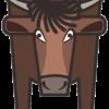 四角い牛の正面顔のイラスト