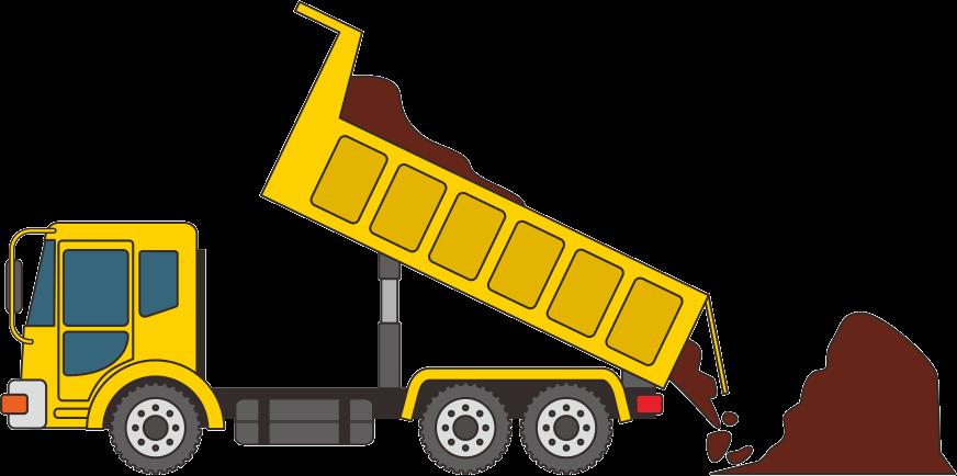 荷台から土砂を下ろしている黄色いダンプカーのイラスト