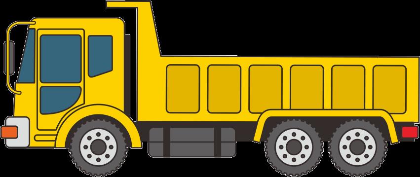 黄色い大型ダンプカーのイラスト