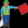 道路工事の旗振り誘導員のイラスト