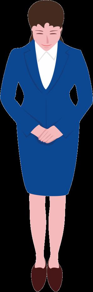 スーツ姿の女性が「いらっしゃいませ」を言っているイラスト