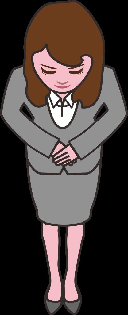「いらっしゃいませ」とお辞儀をしている女性社員のイラスト