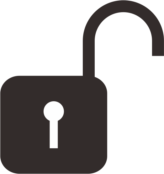 掛け金を開いてロックを解除している鍵アイコン