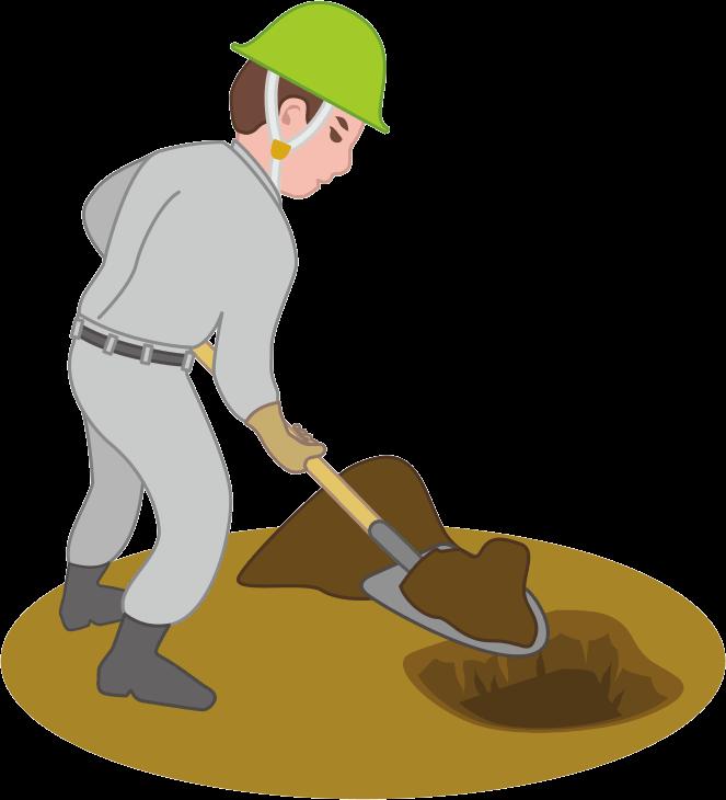 スコップを使って手作業で穴を掘っている工事作業員のイラスト