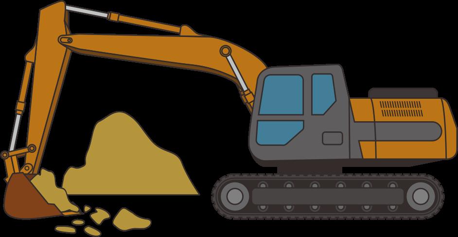 土砂を掘削しているバックホウのイラスト