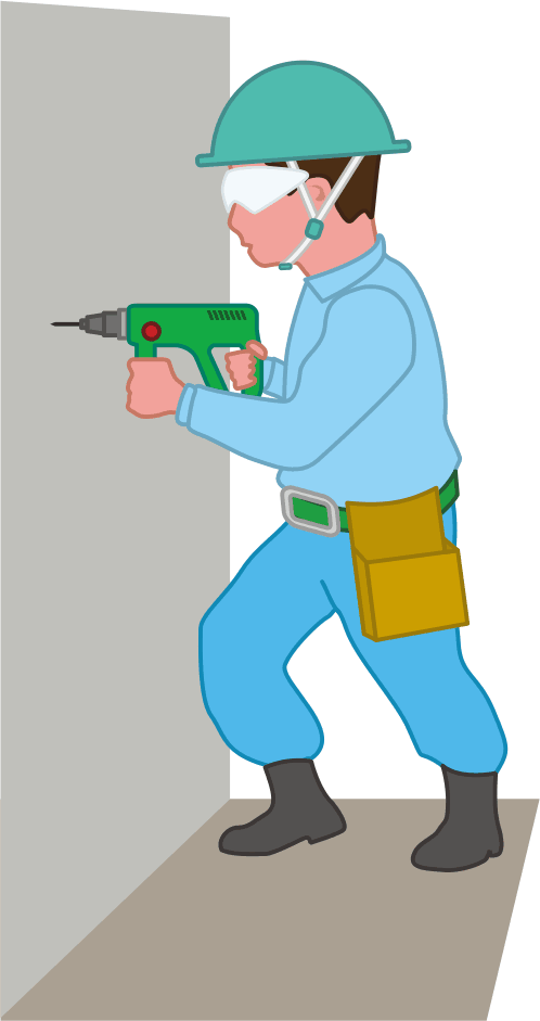 ゴーグルを着用してドリルで穴開け作業を行っている建設作業員のイラスト