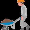 一輪車で土砂を運んでいる若い土木作業員のイラスト