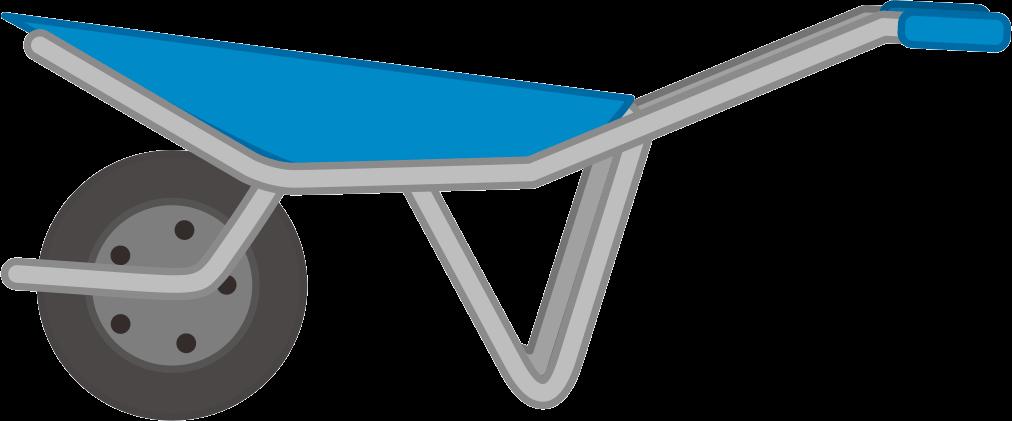 荷台とグリップが青い一輪車のイラスト