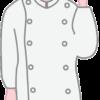 商品の案内をしているケーキ店の女性店員のイラスト