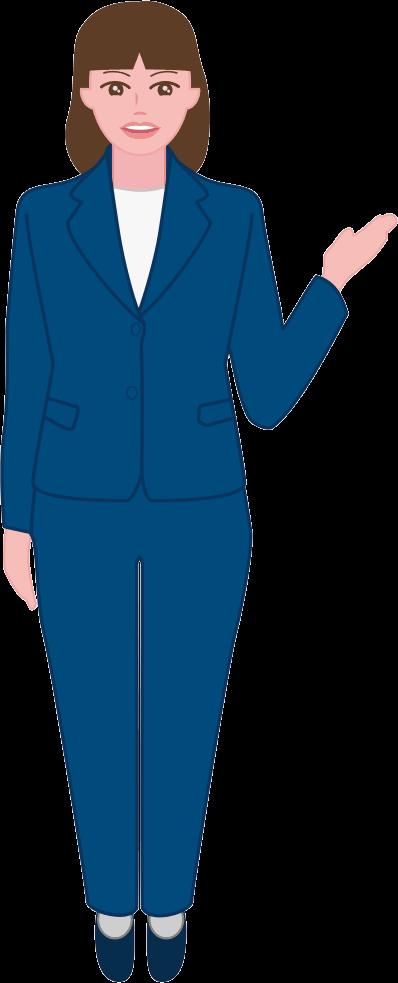 紺色のスーツを着た案内係の女性のイラスト