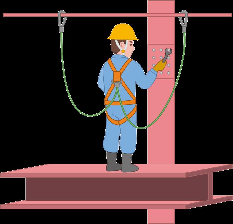 フルハーネスを着けて高所で鉄骨を組む作業員のイラスト