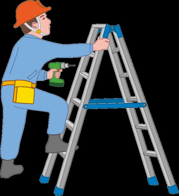 ドリル片手に脚立を使って器具の取付をする作業員のイラスト