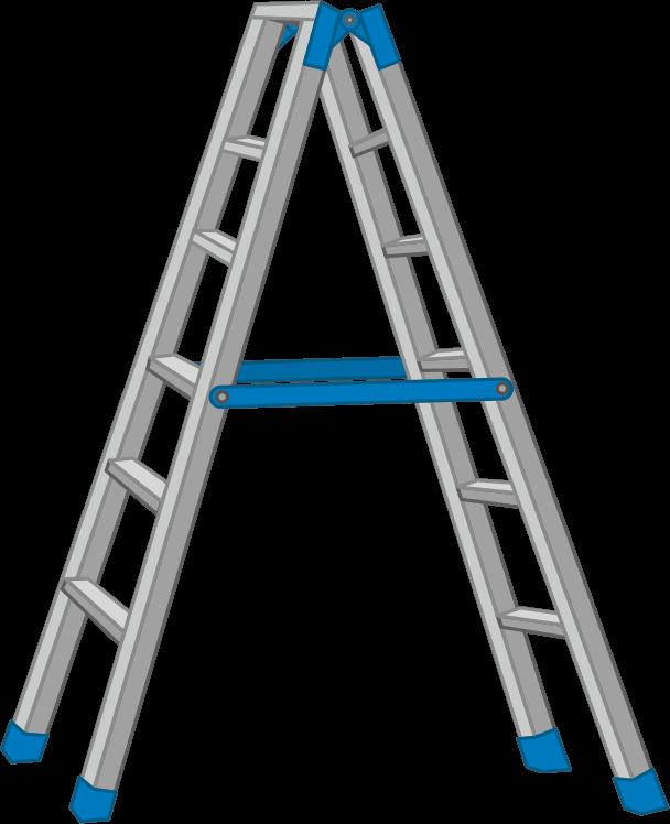 軽くて丈夫なアルミ製脚立のイラスト